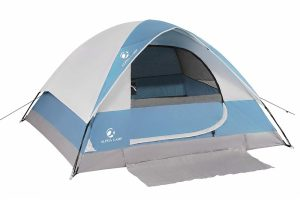 Blue white and gray Alpha Camp 2-4 person dome tent with an entrance mat