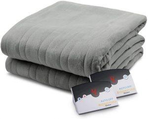 Biddefort Comfort Knit Heated Blanket King-Size Gray