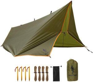 Free Soldier Waterproof Portable Tarp, green with orange edges