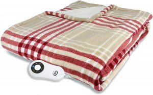 Serta Super Soft Reversible Microplush heated blanket with a red/beige pattern