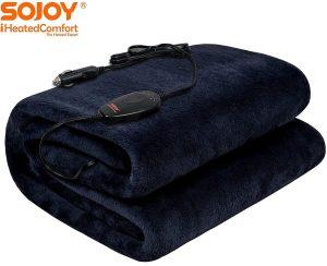 Sojoy 12-Volt Heated Blanket Dark Navy Color