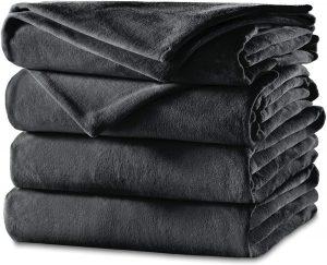 Sunbeam Cozy Feet Heated Blanket Soft Slate Gray Velvet