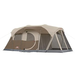 Multi-room tent in beige colors