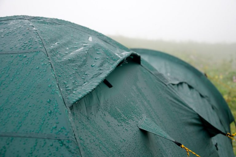 Backpacking tent during a heavy rain shower