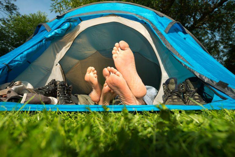 Couple sleeping in a lightweight tent on an air mattress
