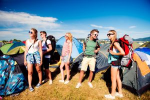 Group of young people on a music festival