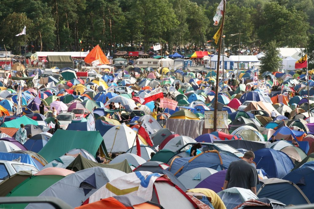 Crowded campground at music festival