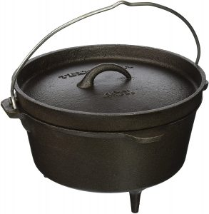 Texsport Cast Iron Dutch Oven With Legs and Wire Handle