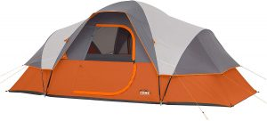 Orange and gray tunnel tent with multiple rooms