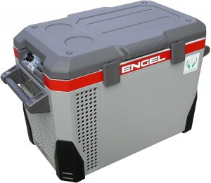 ENGEL MR040F-U1 40 Qt AC/DC Portable Tri-Voltage Fridge/Freezer with a gray and red design